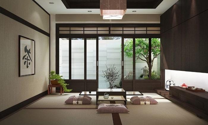 Phòng khách kiểu Nhật thường rất ít đồ đạc
