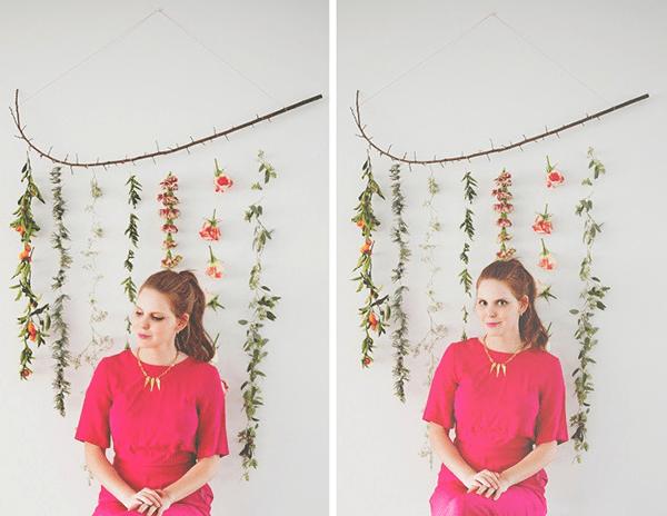Dây dù là 1 ý tưởng trang trí hoa tươi trên tường rất độc đáo