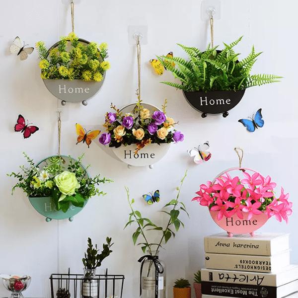 Giỏ hoa tươi treo tường xinh xắn lấy ý tưởng từ thiên nhiên