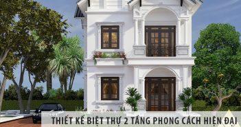 Thiết kế biệt thự 2 tầng theo phong cách hiện đại