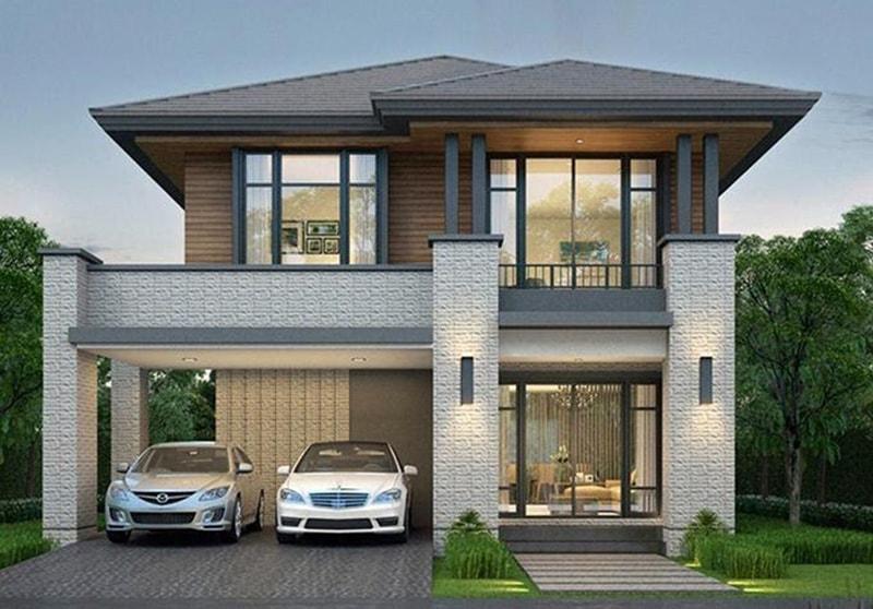 Thiết kế biệt thự 2 tầng mái thái hiện đại